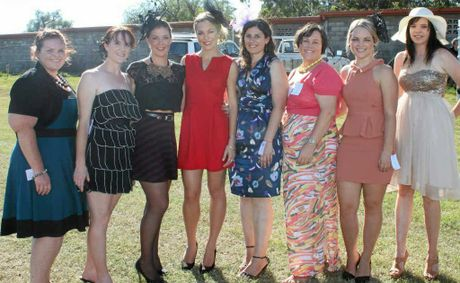 Kelli Mullins, Fiona White, Jenna Pauli, Brooke Walsh, Catherine Lutvey, Kathryn McConville, Sophie Griffin and Natalie Lancuba make a fashionable appearance at the Warwick Picnic Races at the weekend.