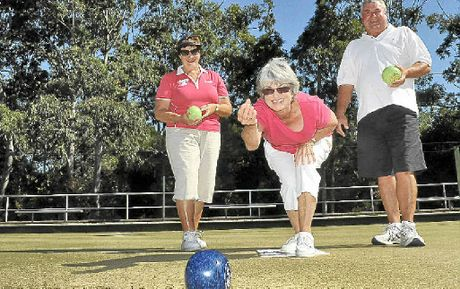 Noosa Heads Bowls Club members Yvonne Walsh, Valerie Luckman and Neil Walsh looking forward to the re-opening of green three.