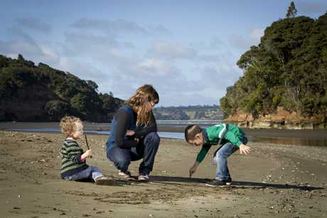 Clare Bates and her sons Owen, 3, and Murphy, 5, were harassed by loose dogs on Kakamatua Beach.  All dogs are meant to be on leads but owners thought otherwise.