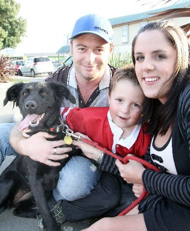 'Miley' the dog with Scott Hardie, Aiden McLaughlin and Kylie Jack