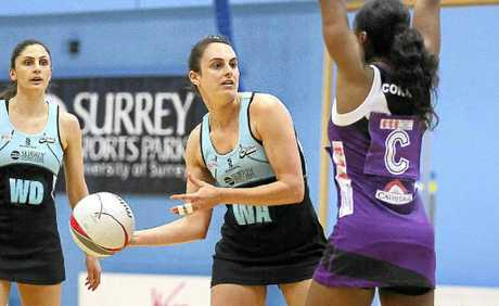 Ballina's Kathryn Ainsworth (with the ball) plays for Surrey Storm.