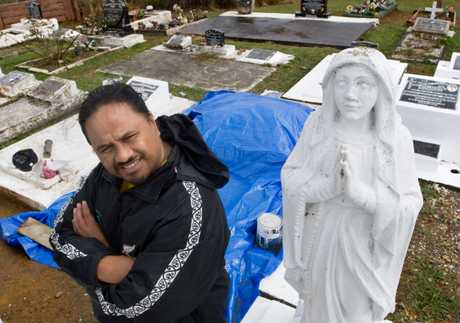 BLESSED: Ngongotaha resident Fred Haumaha was thankful for the tarpaulin protecting work on his mother's grave.