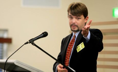 Michael Armstrong was one of several council candidates that spoke and took questions at a business breakfast.