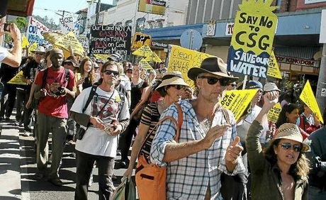 The 7000-strong anti-CSG rally stretched all the way round the Lismore CBD block.