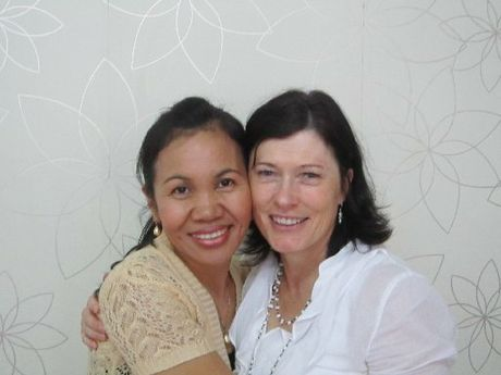 "Rahab House ""mother"" Maniwan (left) and Liz Fowler in Patpong, Bangkok."