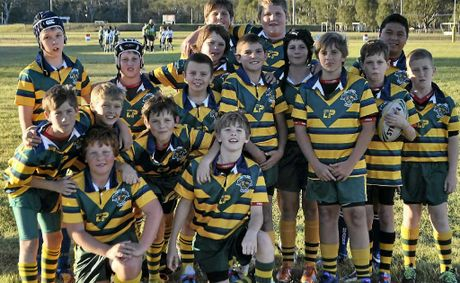 The St Mary's primary school side at Father Ranger Oval yesterday.