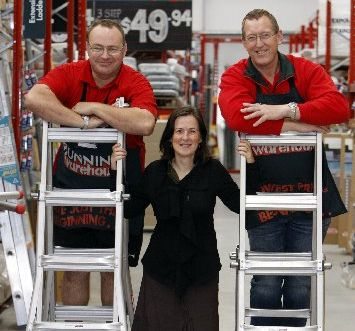 Workplace literacy tutor Maria Croucher with David Hill (left) and Steven Stiff, of Bunnings Whangarei.