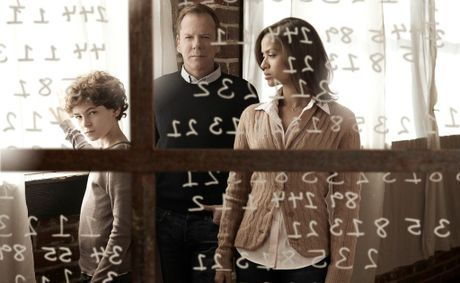 From left, David Mazouz, Kiefer Sutherland and Gugu Mbatha-Raw star in the TV series Touch.