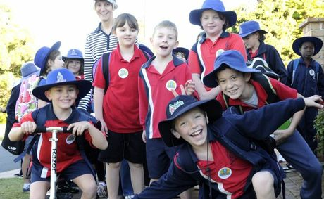 Rangeville State School students walked to school this morning as part of the national Walk to School Day. Photo Bev Lacey.