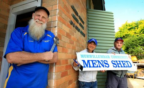 John Chuah and Doug Stevens at the Murwillumbah Community Men's Shed with newly appointed coordinator Phil Davison.