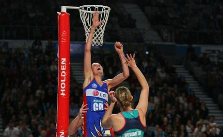 Anna Harrison of the Mystics blocks the shot of Karyn Howarth of the Vixens during the round eight ANZ Championship match between the Melbourne Vixens and the Northern Mystics at Hisense Arena on May 20, 2012 in Melbourne, Australia.