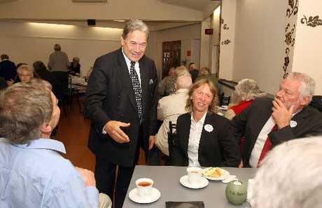 BRING OUT THE TEAPOT: NZ First leader Winston Peters with Jackie and Pieter Bade at the Wairarapa branch annual meeting, held at Wairarapa Services and Citizens Club yesterday. PHOTO/LYNDA FERINGA