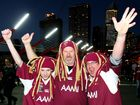 Maroons and Blues supporters root for their team ahead of the opening 2012 State of Origin series.