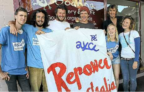 EMPOWERING: Australian Youth Climate Coalition members Jack Keough, Lachlan King, Kieran OReilly, Suenje Kremser, Gemma Plesmer-Emerton, Goannas Geoff Haycraft and Siobhan Corcoran.