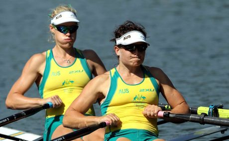 Kim Crow (left) and Sally Kehoe of Australia compete in the Women's Double Sculls on Day one of the Rowing World Cup held on July 9, 2010 in Lucerne, Switzerland.