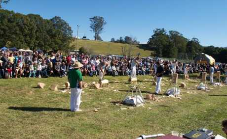 Axemen in action at last years Orara Valley Fair. The woodchoppers will be swinging their axes in tree felling, underhand and standing block events at the fair on June 11. Photo: Raymond Mather 