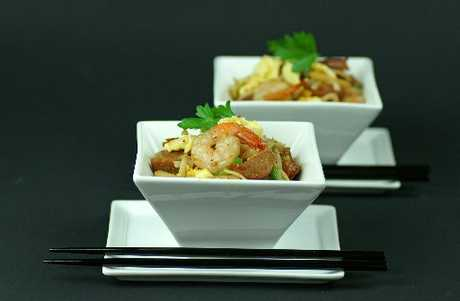 Malaysion fusion noodles. Spices and herbs provide exotic flavours for the noodles to absorb.