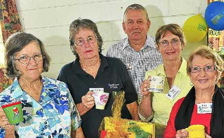 Jean Wirth, Valmay Baker, Rob McCulloch, Jan Korn and Fay Hansen enjoy a cuppa at the Bundaberg District Prostate Cancer support group's Biggest Morning Tea.