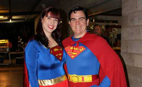 SUPER COUPLE: Brendan Beahan, with his wife Liz, hosted a costume party to raise money for Variety instead of having a usual birthday party this year.