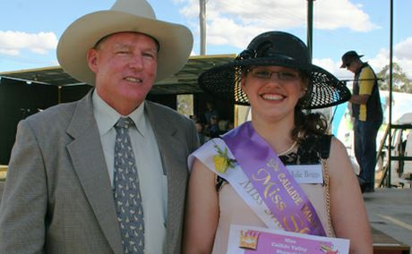 BILOS THE BEST: Callide Valley Miss Showgirl Julie Briggs, with Mayor Ron Carige, is excited to represent the Callide Valley in the next stage of the Miss Showgirl competition. 