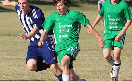 Emerald Eagles reserves track down possession against Clinton at the weekend.