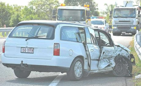 Firefighters had to cut a woman from her car following an accident 1km south of the Coolum roundabout last Thursday.