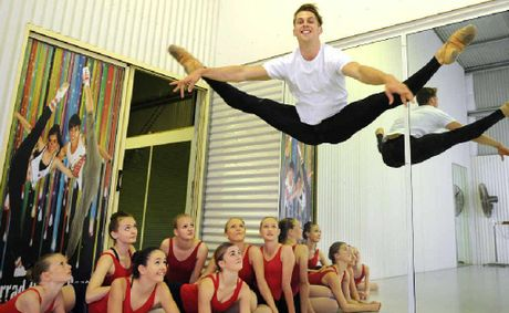 Dance teacher Jarrad Cramp at his Wollongbar studio with some of his students who will be performing in this year's eisteddfod.