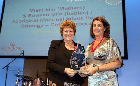 NSW Health Minister Jillian Skinner presents midwife Kate Skinner with the prestigious award.