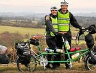 Laura Hegarty, Ashley Weyman-Jones and Will stopped roadside in Herefordshire, England.