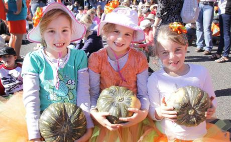 Lauren Robinson and Sophie and Kaitlin Ardrey at the Goomeri Pumpkin Festival.