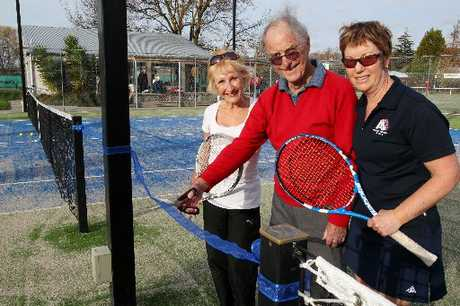 GAME ON: Havelock North Tennis Club president Karen Palleson (left) with club patron John Clothier and secretary Leigh Johnson in front of the club's two new courts.