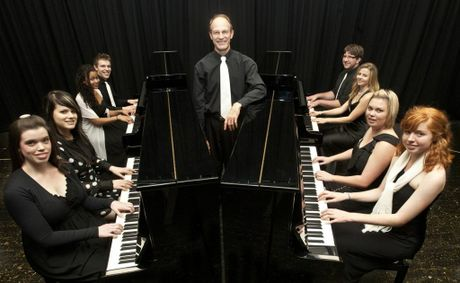 Set to perform another top show are USQ Keyboard Ticklers (clockwise from front left) Courtney Feldman, Georgina James, Jenna Wong, Morgan Chalmers, Dr Phillip Gearing, Sam Argent, Bonnie Green, Courtney McVeigh and Louise Mitchell.