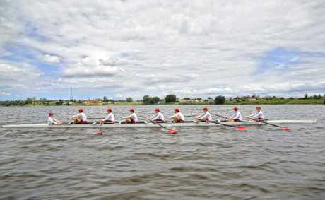 The Gregory Terrace junior eights boys during a training session for the Head of the River Regatta.