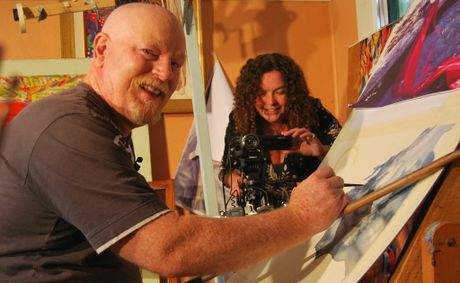 Sophia Stacey films artist Graeme Stevenson at work in his Murwillumbah studio for television.