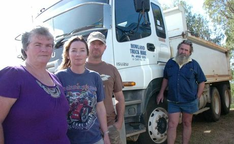 Veronica Hansen (far left) and George Howland (far right) run Howland Truck Hire, employing Alison Hansen and Pete Hansen. they have been forced to leave Gladstone as they have not been paid for contracts completed since February. Photo David Sparkes / The Observer