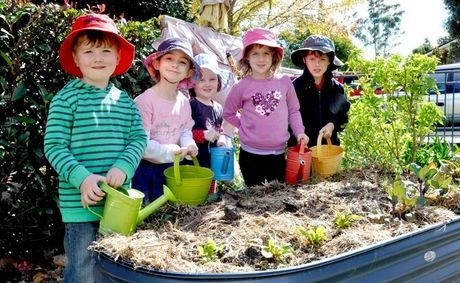 Tending to their vegetable garden are (from left) Finn O'Mara, Mia Duggan, Abbie Mills, Abigail Hyde and George Clifford.