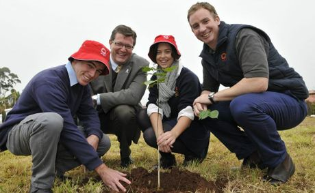 Matt Fing, Trevor Watts, Emily Brassington and Scott Bird plant some pongonia trees at Toowoomba State High School Wilstonton campus.