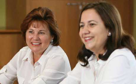 Labor party leader Annastacia Palaszczuk (right) with Bundamba MP Jo-Ann Miller in Ipswich. 