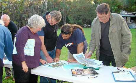 Weyba locals inspect the Noosa on Weyba concept plans.