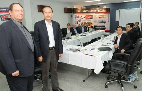 J. Smith and Sons managing director Kerren Smith with the chairman of Chinese corporation NHIC Mr Lei and his delegation in Gympie last week.