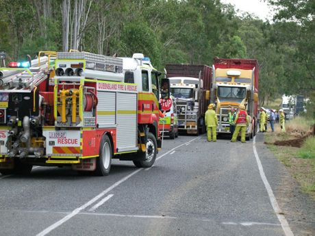 COLLISION: Emergency services attending the crash site of two trucks 30km north of Monto. Photo Emma Gough/ Central & North Burnett Times