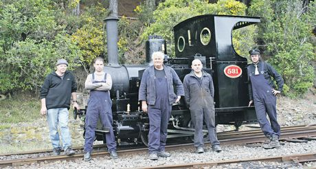 Locomotive 531 at Silverstream, in the Hutt Valley. From left, Peter Dent, Alastair MacIver and Bryan Bishop. Hawke's Bay enthusiast Jason Durry and Caleb Scott. Photo / Supplied