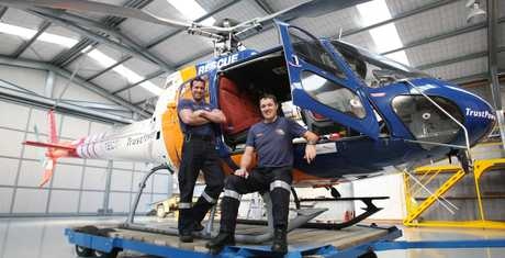 "Pilot Liam Brettkelly, right, and St John paramedic and ""crew chief"" Bill McNeilly have been conducting air rescues for 12 years."