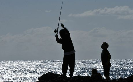 Fishing from Woolgoolga Headland.
