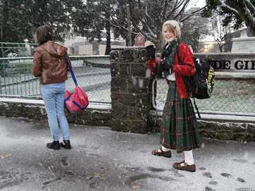 The predicted cold wintry blast hit christchurch with a vengeance causing schools, kindergartens and roads to close as temperatures plummeted to below freezing.