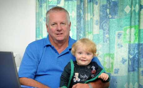 David Jamieson, pictured with his grandson Bailey, survived five heart attacks in one day in Gympie.