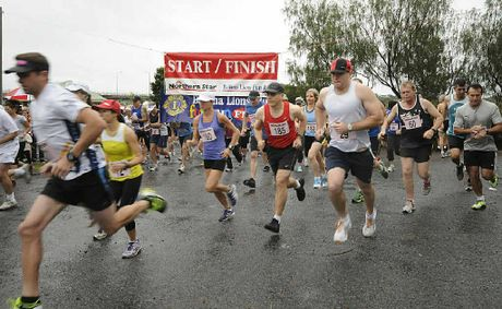 It was all go at the start of the 10km run as the rain came down at Missingham Park in Ballina for the Lions fun run.