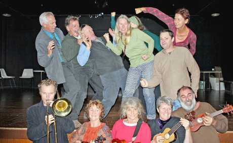 The cast of CSG - The Musical gets into the spirit of the CSG battle during rehearsal.