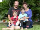Shane Sayers, his wife Linda and their children Imogen and Isaac. The family looks forward to returning home to Proserpine after Mr Sayers underwent successful surgery in Sydney to remove a brain tumour.