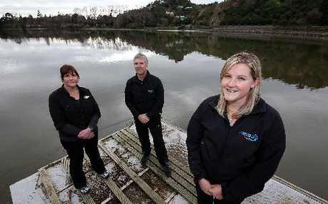 RIVER OF OPPORTUNITY: Rachel O'Connor, right - with Wanganui Rowing Association's Fiona Symes and Sport Wanganui's Greg Fromont - is excited by her new rowing development role.